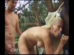 Blonde rasta babe gets horse cock Violett