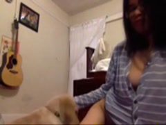 Asian Licked Clean By Dog on webcam